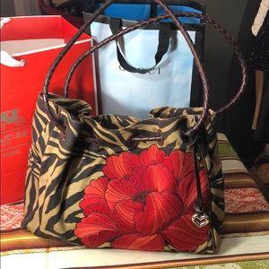 Brighton embroider floral stripe leather purse bag